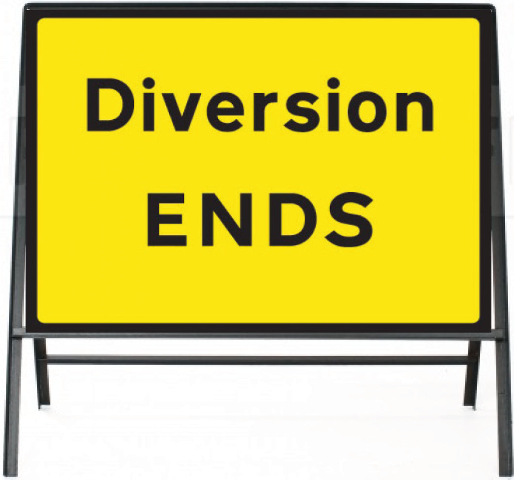 Diversion Ends Temporary Sign  Zintec panel in Metal Frame  Size: 1050x750mm  Product Code: 60332