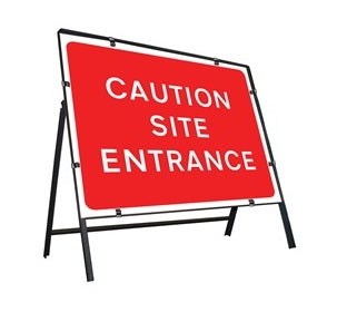 Caution Site Entrance Temporary Sign  Zintec panel in Metal Frame  Size: 1050x750mm  Product Code: 60333