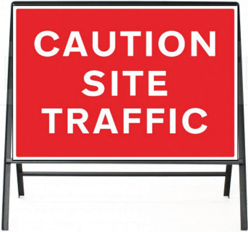 Caution Site Traffic Temporary Sign  Zintec panel in Metal Frame  Size: 1050x750mm  Product Code: 60334