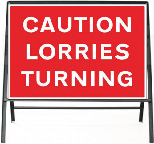 Caution Lorries Traffic Temporary Sign  Zintec panel in Metal Frame  Size: 1050x750mm  Product Code: 60335