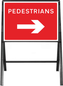 Pedestrians with arrow right Temporary Sign  Zintec panel in Metal Frame  Size: 600x450mm  Product Code: 60336