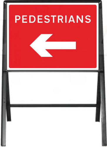 Pedestrians with arrow left Temporary Sign  Zintec panel in Metal Frame  Size: 600x450mm  Product Code: 60337