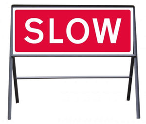 SLOW Temporary Sign  Zintec panel in Metal Frame  Size: 1050x450mm  Product Code: 60340