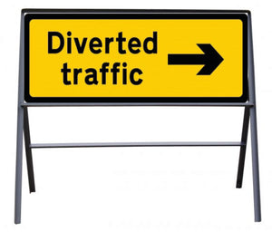 Diverted Traffic arrow right Temporary Sign  Zintec panel in Metal Frame  Size: 1050x450mm  Product Code: 60341