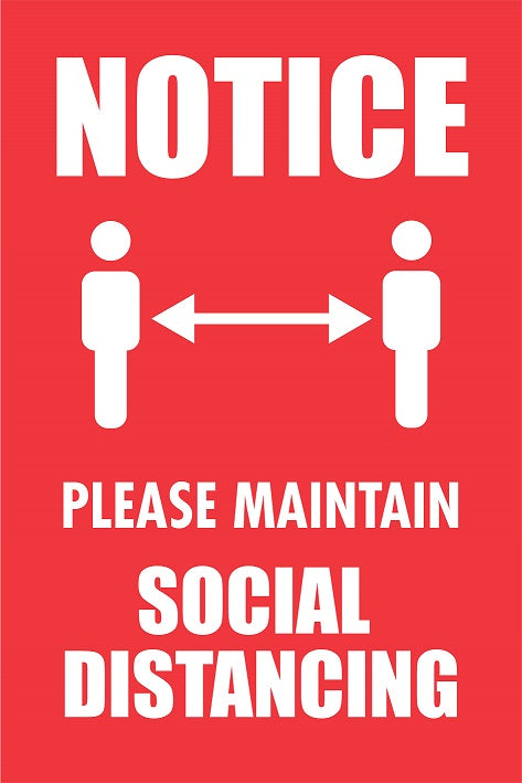Please Maintain Social Distancing Sign.  Available in Rigid Plastic or Self-adhesive Vinyl.  Size: 400x600mm   Product Codes:   Rigid Plastic 60344RP  Self-adhesive Vinyl 60344V
