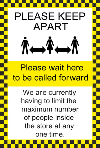 Please Wait Here to be Called Forward Sign.  Available in Rigid Plastic or Self-adhesive Vinyl.  Size: 400x600mm   Product Codes:   Rigid Plastic 60345RP  Self-adhesive Vinyl 60345V