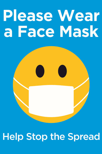 Please Wear a Face Mask Sign.  Available in Rigid Plastic or Self-adhesive Vinyl.  Size: 200x300mm   Product Codes:   Rigid Plastic 60346RP  Self-adhesive Vinyl 60346V