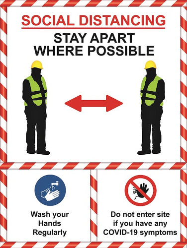Social Distancing Stay Apart Sign.  Available in Rigid Plastic or Self-adhesive Vinyl.  Size: 450x600mm   Product Codes:   Rigid Plastic 60348RP  Self-adhesive Vinyl 60348V
