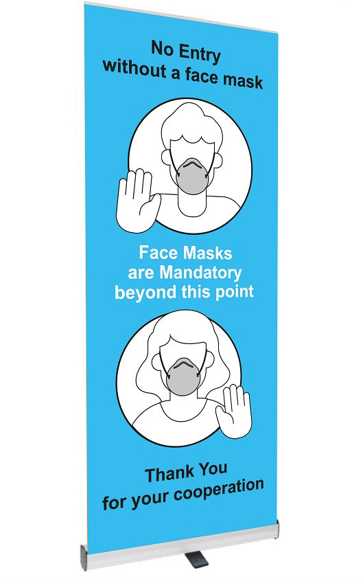 No Entry with a face mask Pop Up Banner  Size: 800x2000mm  Product code: 60349