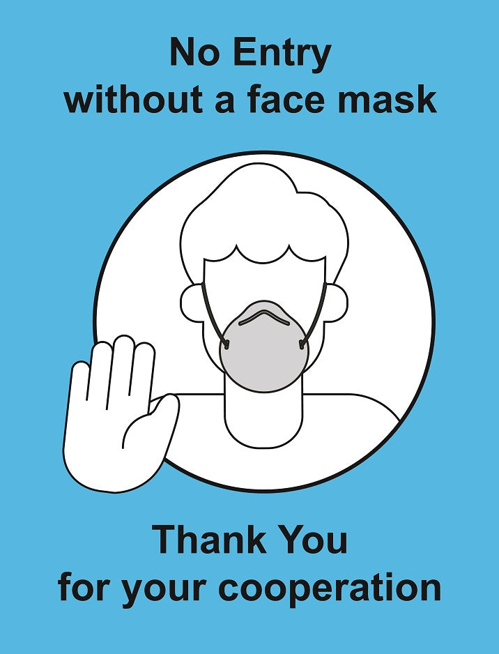 Masks Must Be Worn Sign  Available in rigid Plastic or Self-adhesive Vinyl  Size: 300x400mm  Available in rigid plastic and self-adhesive vinyl. Product Code 60350