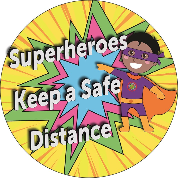 Superheroes Distancing Symbol Floor Graphic / Sign  Sizes: 300mm diameter  Available in self-adhesive vinyl and as an anti-slip floor graphic