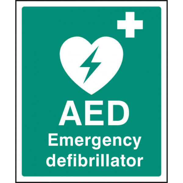 AED Emergency Defibrillator Safety Sign  Available in Rigid Plastic and Self-Adhesive Vinyl  Size: 300x250mm