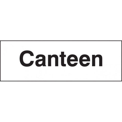 Canteen Sign Panel  Available in Rigid Plastic and Self-Adhesive Vinyl  Sizes: 300x100mm and 450x150mm