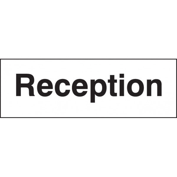 Reception Sign Panel  Available in Rigid Plastic and Self-Adhesive Vinyl  Sizes: 300x100mm and 450x150mm