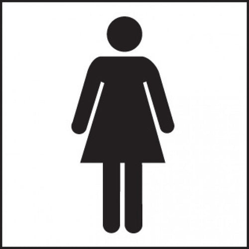 Female Toilet Symbol Sign Panel  Available in Rigid Plastic and Self-Adhesive Vinyl  Size: 200x200mm