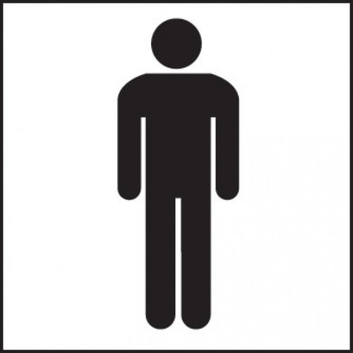 Male Toilet Symbol Sign Panel  Available in Rigid Plastic and Self-Adhesive Vinyl  Size: 200x200mm
