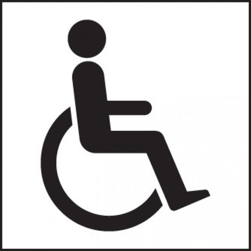 Disabled Toilet Symbol Sign Panel  Available in Rigid Plastic and Self-Adhesive Vinyl  Size: 200x200mm