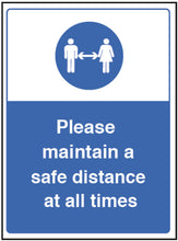 Load image into Gallery viewer, Please Maintain a Safe Distance Sign  Content: 2 metres, 1 metre or Safe Distance  Size: 250x300mm   Available in rigid plastic and self-adhesive vinyl