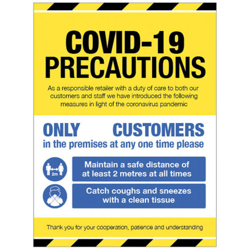 Covid-19 precautions sign. Content: 2 metres, 1 metre or Safe Distance  Sizes: available in 250x300mm and 300x400mm  Available in rigid plastic or self-adhesive vinyl.
