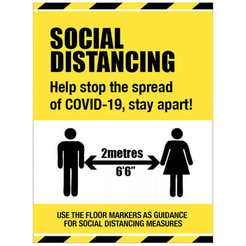 Social Distancing Help Stop the Spread Sign  Content: 2 metres, 1 metre or Safe Distance  Sizes: available in 300x400mm and 400x600mm  Available in rigid plastic and anti-slip floor graphic.