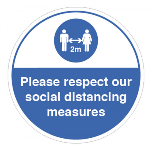 Please Respect Our Social Distancing Measures Vinyl Sticker  Content: 2 metres, 1 metre or Safe Distance  200mm diameter self-adhesive vinyl sticker