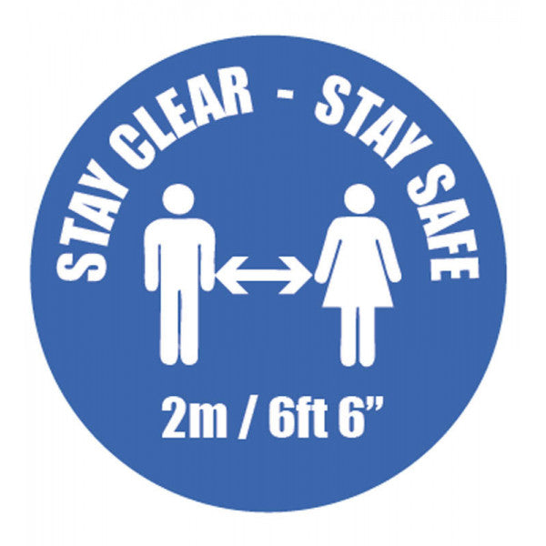 Stay Clear Stay Safe Vinyl Sticker  Content: 2 metres, 1 metre or Safe Distance  200mm diameter self-adhesive vinyl sticker