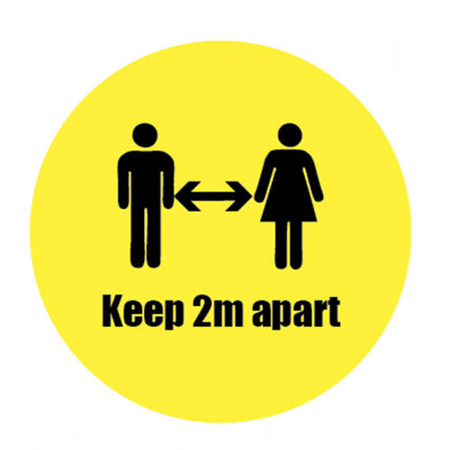 Keep Apart Vinyl Sticker  Content: 2 metres, 1 metre or Safe Distance  200mm diameter self-adhesive vinyl sticker