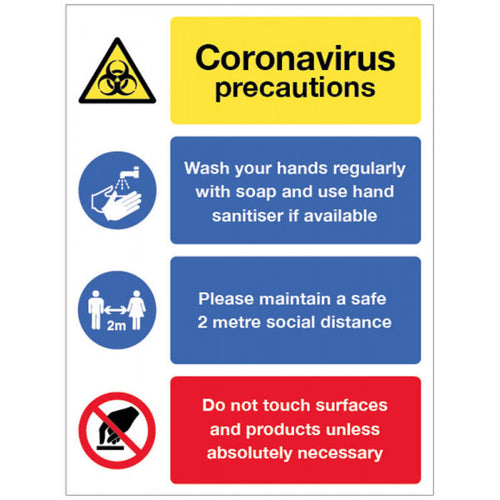 Coronavirus Precautions Multi-Message Safety Sign. Available in 250x300mm and 300x400mm  Available in Rigid Plastic and Self-Adhesive Vinyl