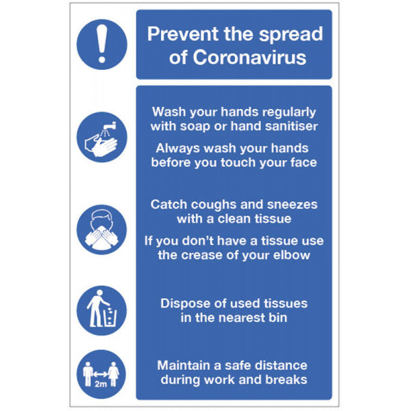 Prevent the spread of coronavirus. Sizes: Available in 300x400mm and 400x600mm  Available in Rigid Plastic