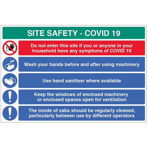 Coronavirus site safety board with 5 messages. Size: 900x600mm  Available in Rigid Plastic and Fluted PVC  Product codes:   900x600mm Rigid Plastic 18454W  900x600mm Fluted PVC 58454