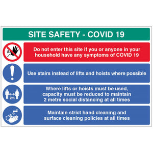 Coronavirus site safety board with 4 messages. Size: 900x600mm  Available in Rigid Plastic and Fluted PVC