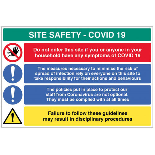 Coronavirus Site Safety Board with 4 Messages. Available in Rigid Plastic and Fluted PVC. 900x600mm
