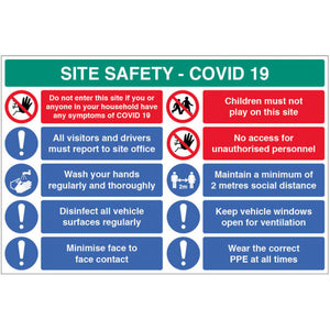 Coronavirus Site Safety Board with 10 Messages. 900x600mm
