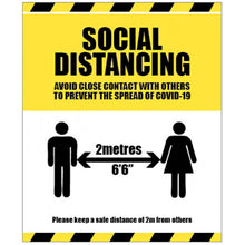 Load image into Gallery viewer, Social Distancing Warning Floor Graphic / Sign  Content: 2 metres, 1 metre or Safe Distance  Size: available in 250x300mm, 300x400mm and 400x600mm  Also available as rigid plastic, self-adhesive vinyl and anti-slip floor graphic