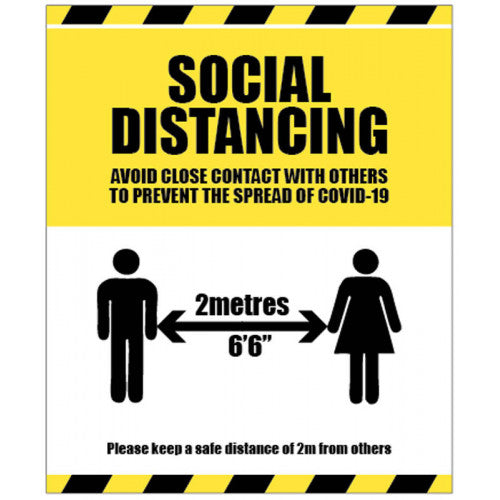 Social Distancing Warning Floor Graphic / Sign  Content: 2 metres, 1 metre or Safe Distance  Size: available in 250x300mm, 300x400mm and 400x600mm  Also available as rigid plastic, self-adhesive vinyl and anti-slip floor graphic