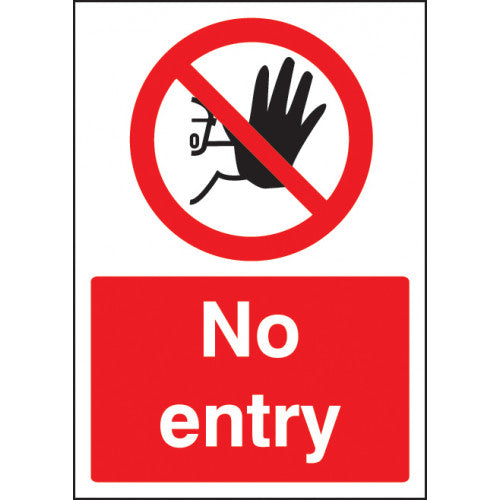 No Entry with Symbol. Digitally printed site safety sign panel available in Rigid Plastic or Self-Adhesive Vinyl.  Size: A4  Product codes:  Rigid Plastic 58380   Self Adhesive Vinyl 58381