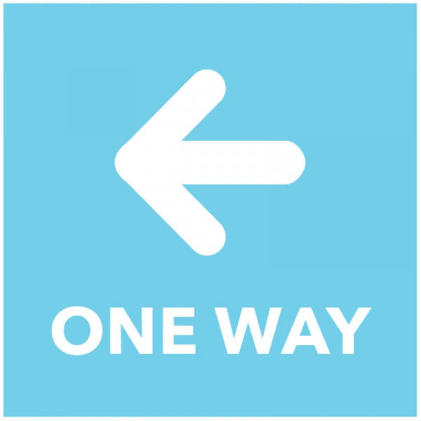 One Way - Arrow Left - Blue Floor Graphic Safety Sign  Digitally printed self-adhesive vinyl  Size: 200x200mm