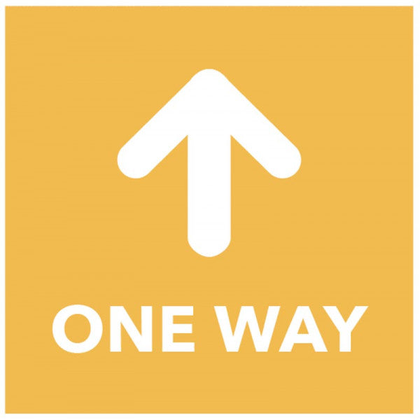 One Way - Arrow Up - Orange Floor Graphic Safety Sign  Digitally printed self-adhesive vinyl  Size: 200x200mm