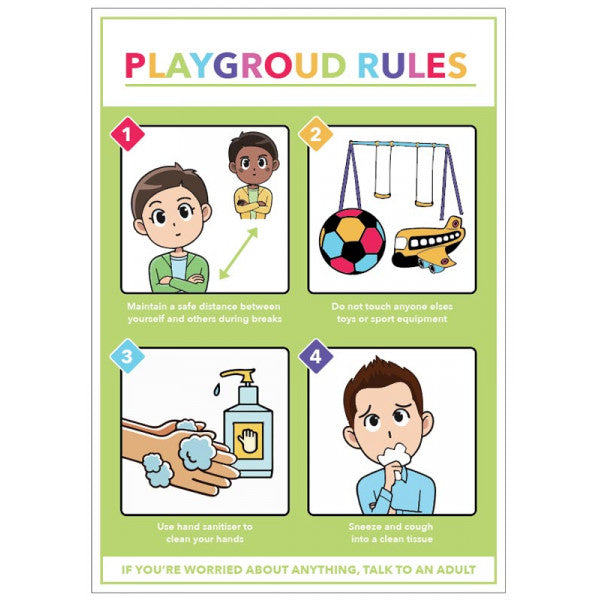 Social Distancing Playground Rules Poster  420x594mm synthetic paper