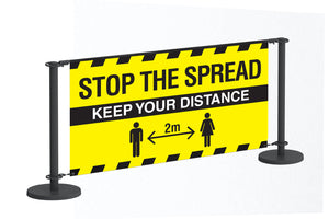 Stop the Spread Black barrier system complete with 1500x1000mm printed banner.  Product code: 60254