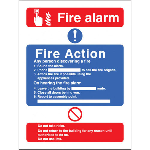 Fire Action / Call Point without Lift Safety Sign  Available in Rigid Plastic and Self-Adhesive Vinyl  Sizes: 200x150mm and 300x250mm
