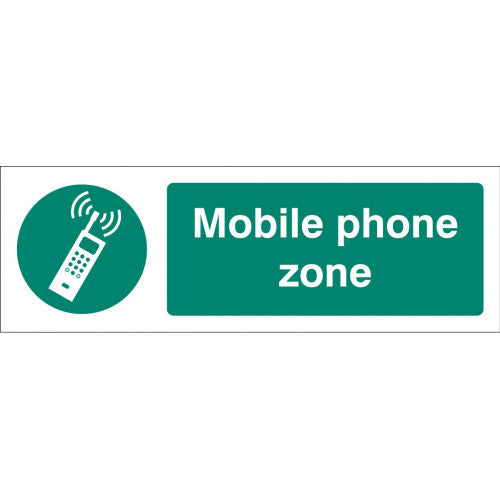Mobile Phone Zone.  Digitally printed site safety sign panel available in Rigid Plastic or Self-Adhesive Vinyl.  Sizes: 300x100mm & 600x200mm  Product codes:  Rigid Plastic 300x100mm 15459G  Rigid Plastic 600x200mm 15459M  Self Adhesive Vinyl 300x100mm 25459G  Self Adhesive Vinyl 600x200mm 25459M