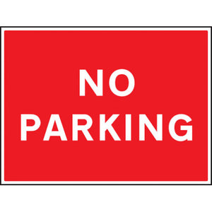 No Parking. Digitally printed site safety sign available in Rigid Plastic or Aluminium. Size: 600x450mm Product codes:  Rigid Plastic 17518Q  Aluminium 67518Q