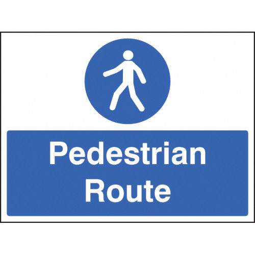 Pedestrian Route Sign. Available in Rigid Plastic or Self-adhesive Vinyl.  Size: 400x300mm  Product Codes:  Rigid Plastic 15235K Self-adhesive Vinyl 25235K