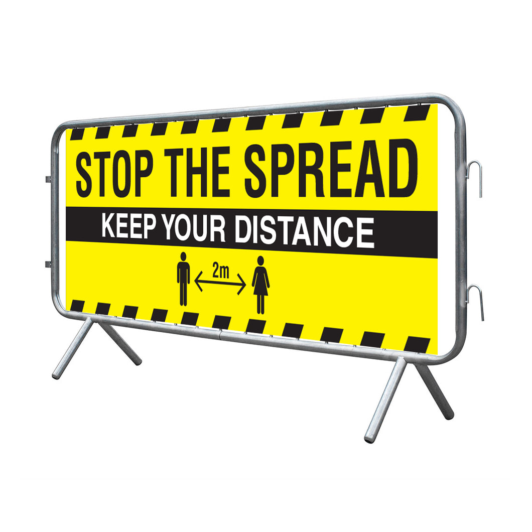 Stop the spread banner for barrier. Size: 2000x750mm  Regular PVC banner to fit barrier with hems and eyelets (barrier not included)  Product code: 6025650