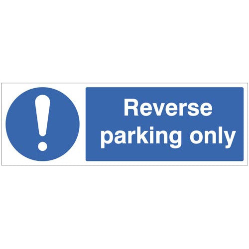 Reverse Parking Only. Digitally printed site safety sign panel available in Rigid Plastic or Self-Adhesive Vinyl.  Sizes: 300x100mm & 600x200mm Product codes:  Rigid Plastic 300x100mm 17683G  Rigid Plastic 600x200mm 17683M  Self Adhesive Vinyl 300x100mm 27683G  Self Adhesive Vinyl 600x200mm 27683M