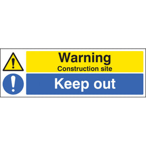 Construction Site Keep Out. Digitally printed site safety sign panel available in Rigid Plastic or Self-Adhesive Vinyl.  Sizes: 600x200mm & 600x200mm  Product codes:  Rigid Plastic 600x200mm 16404M  Rigid Plastic 600x400mm 16404P  Self Adhesive Vinyl 600x200mm 26404M  Self Adhesive Vinyl 600x400mm 26404P