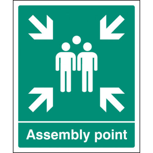 Assembly Point Sign. Digitally printed graphics available printed onto Rigid Plastic, Self-adhesive Vinyl or Aluminium.  Sizes: 300x250mm & 600x450mm  Product Codes:  Rigid Plastic - 300x250mm 12055H  Rigid Plastic - 600x450mm 12055Q  Self Adhesive Vinyl - 300x250mm 22055H  Self Adhesive Vinyl - 600x450mm 22055Q  Aluminium - 300x250mm 62055H  Aluminium - 600x450mm 62055Q