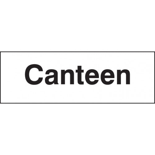 Canteen Sign. Digitally printed site safety sign panel available in Rigid Plastic or Self-Adhesive Vinyl.  Size: 300x100mm Product codes:  Rigid Plastic 17010G   Self Adhesive Vinyl 27010G