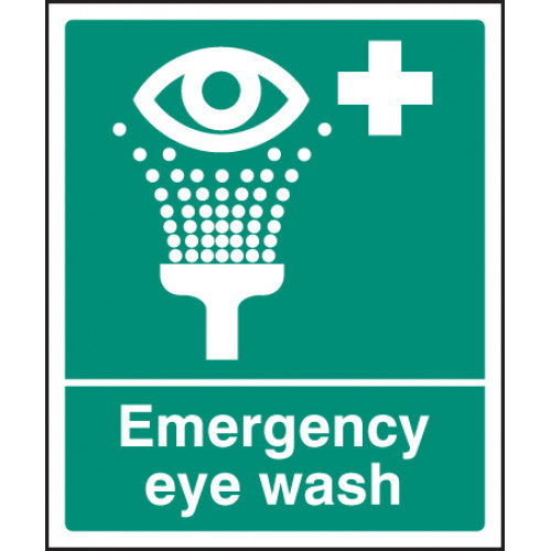 Emergency Eye Wash Sign. Available in Rigid Plastic or Self-adhesive Vinyl.  Size: 300x250mm  Product Codes:  Rigid Plastic 16003H Self-adhesive Vinyl 26003H